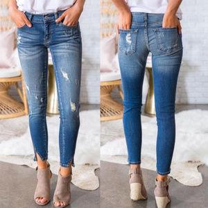 Denim - Distressed Frayed Ankle Jeans